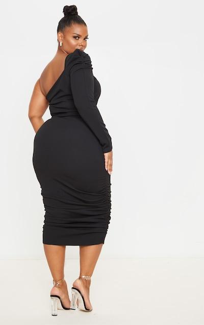 Plus Black One Shoulder Ruched Detail Midi Dress