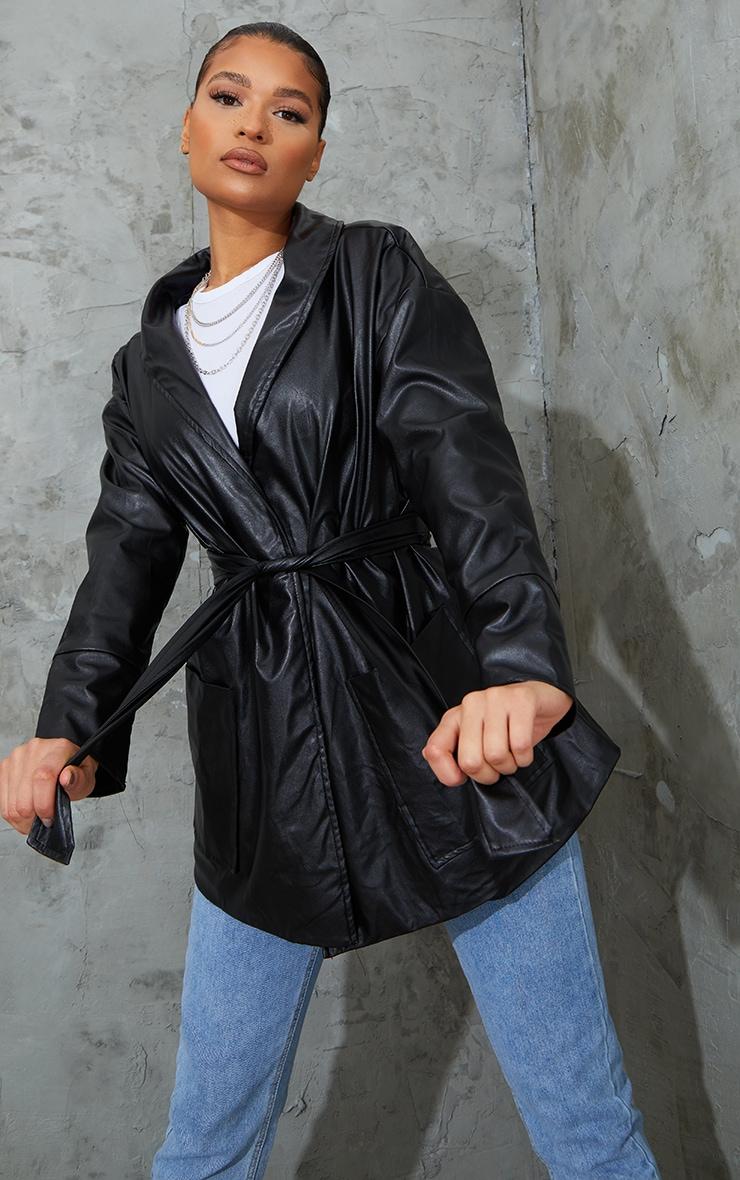 Veste longue en similicuir noir à ceinture 3