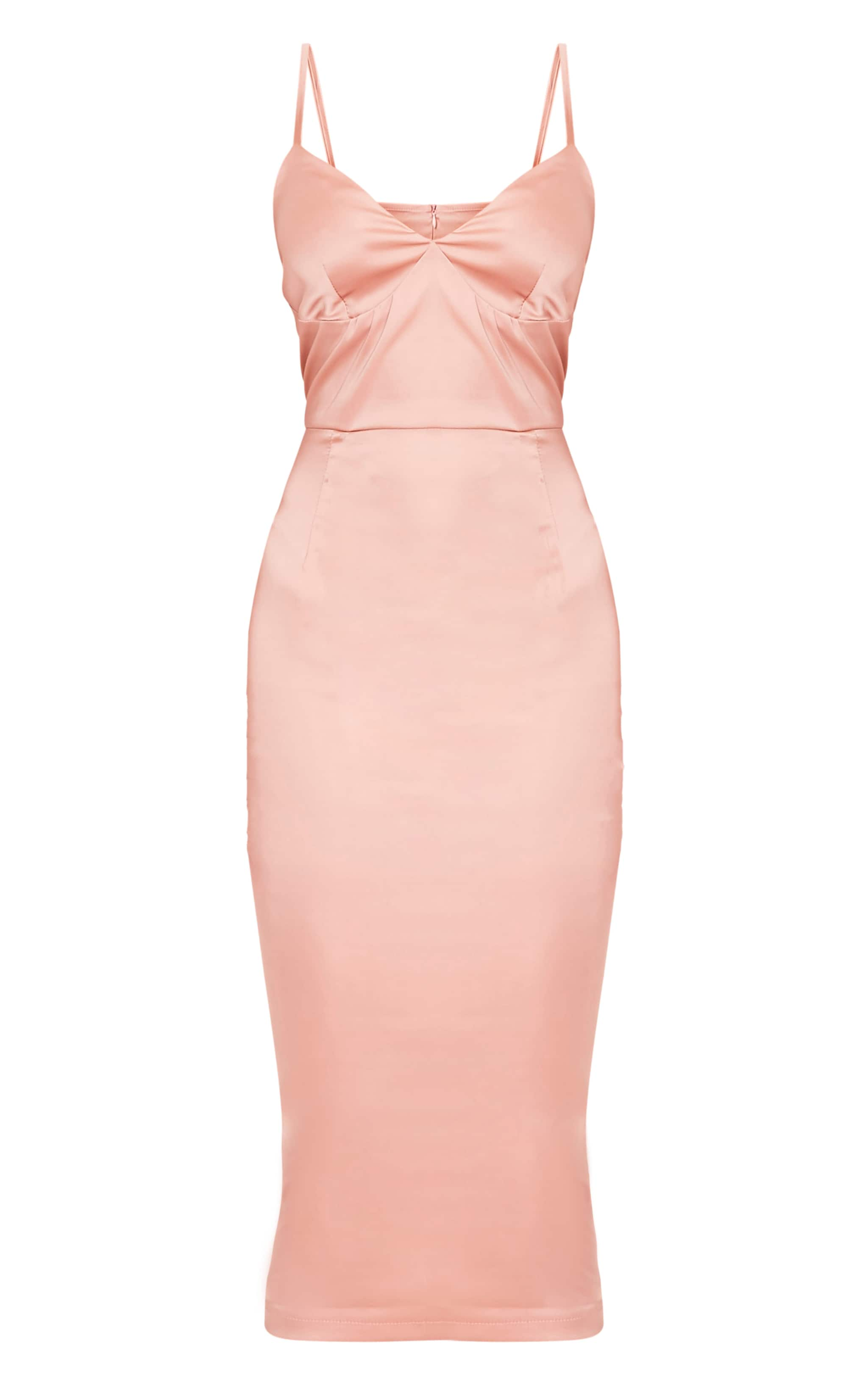 Aisha Nude Satin Panel Midi Dress 3