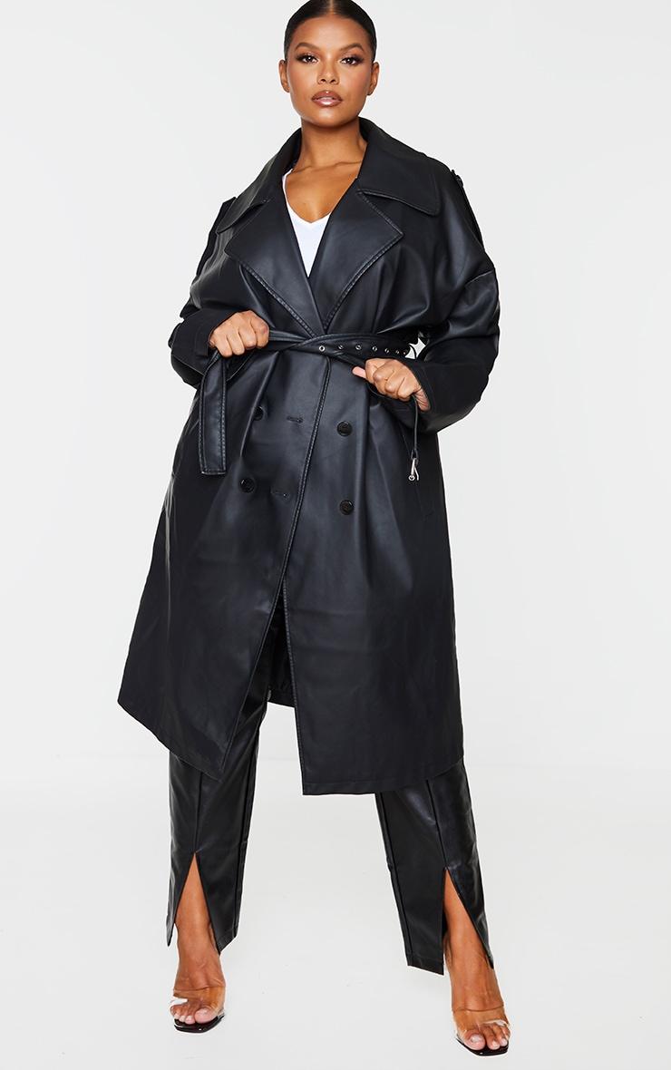 Plus Black Faux Leather Drop Arm Midi Trench 1