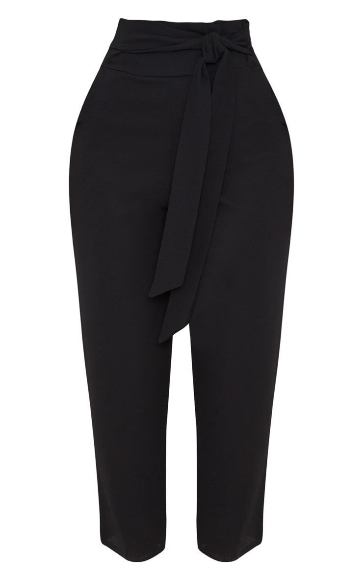 Black Pebble Crepe Tie Waist Cigarette Pants 3