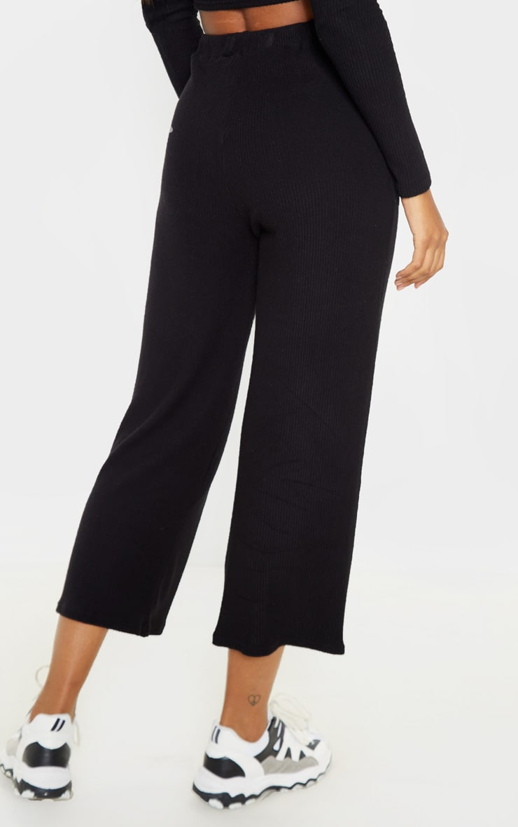 Black Brushed Rib Wide Leg Culotte 4