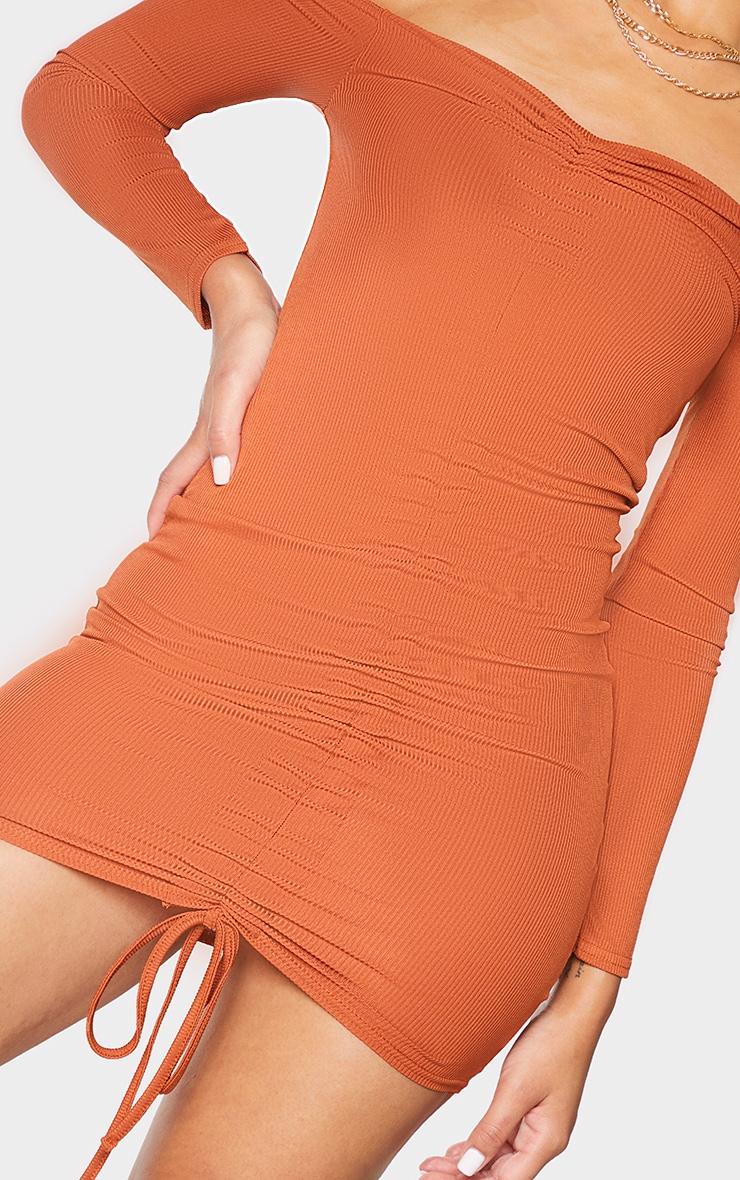 Rust Ribbed Long Sleeve Bardot Ruched Bodycon Dress 4