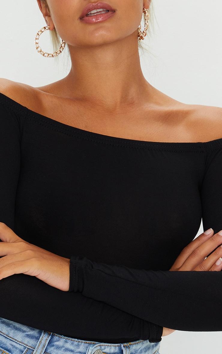 Petite Black Basic Bardot Bodysuit 4