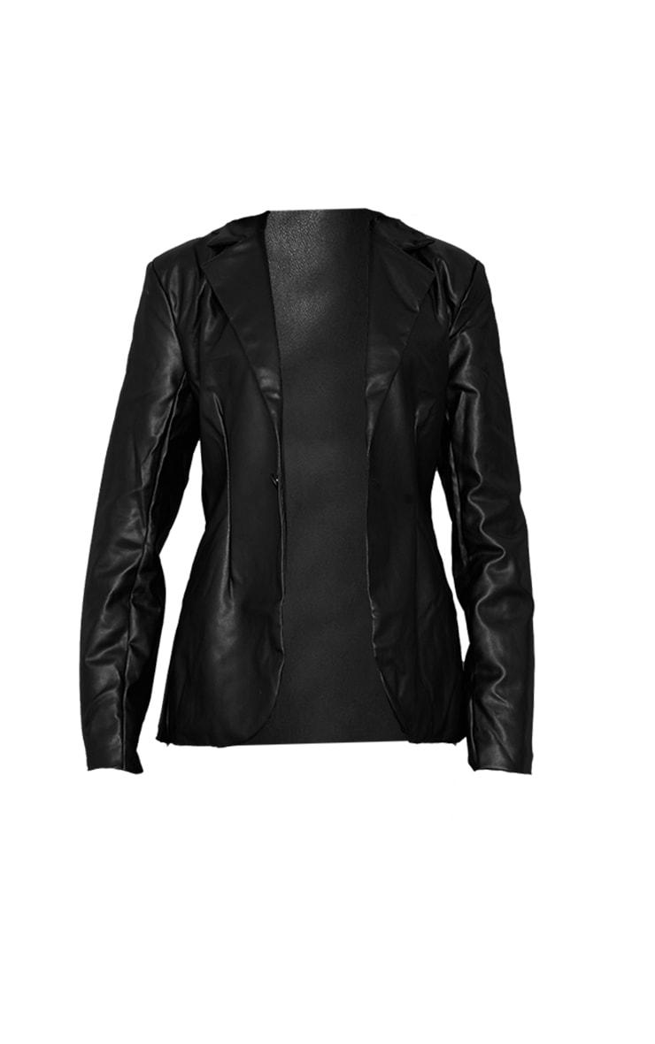Black Faux Leather Cinched Curve Hem Blazer 5