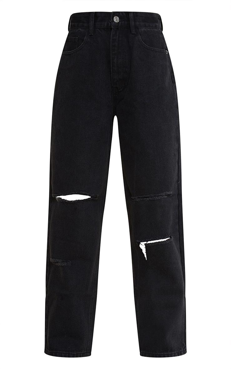 Petite Black Denim Baggy Low Rise Ripped Boyfriend Jeans 5