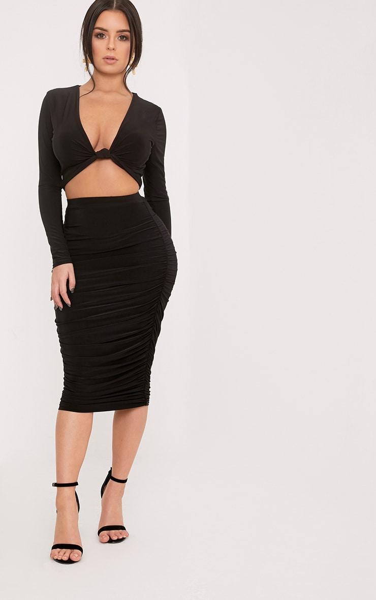 Shape Kareesha Black Plunge Knot Front Crop Top 4