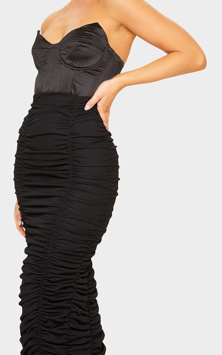 Black Ruched Maxi Skirt 4