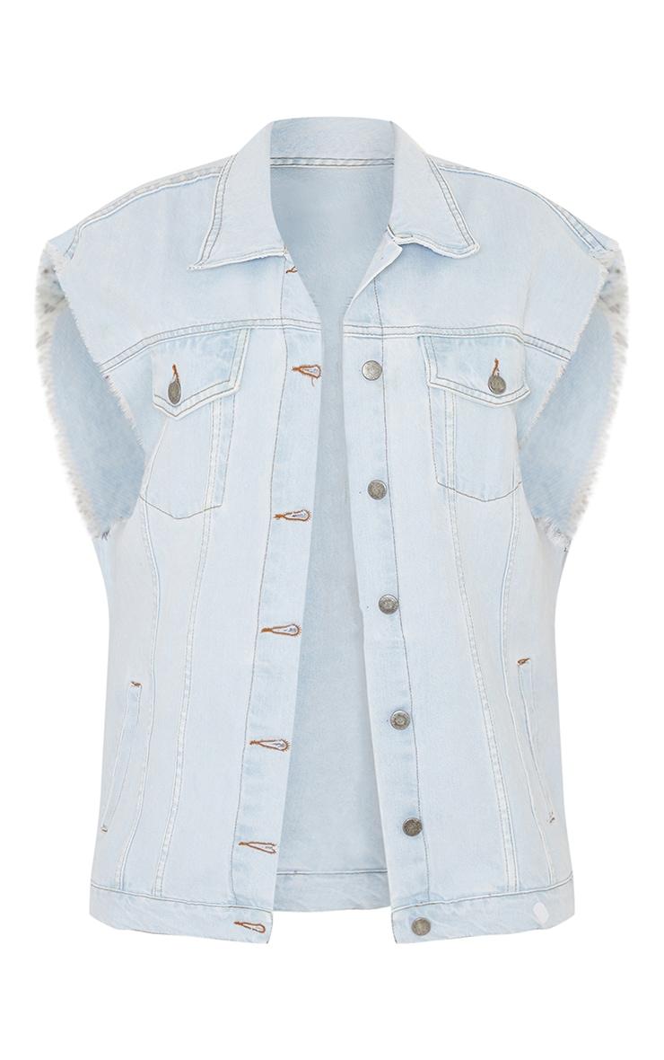 Light Blue Wash Sleeveless Denim Jacket 5