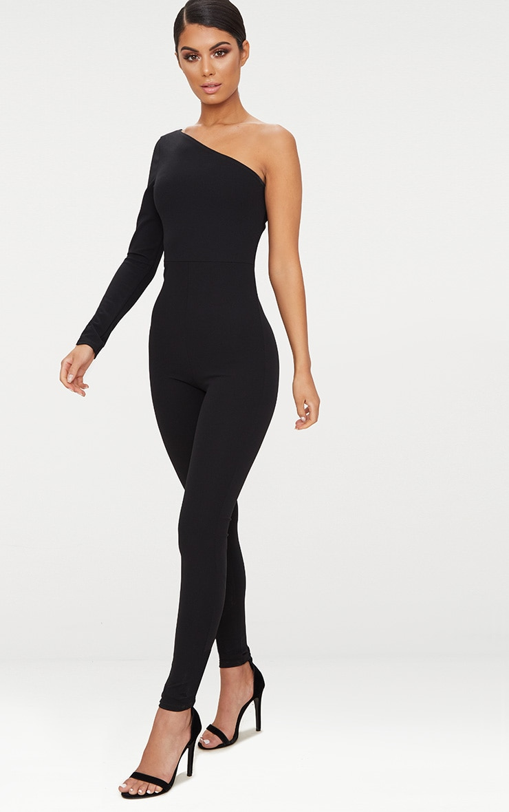 Black Long Sleeve One Shoulder Jumpsuit 1