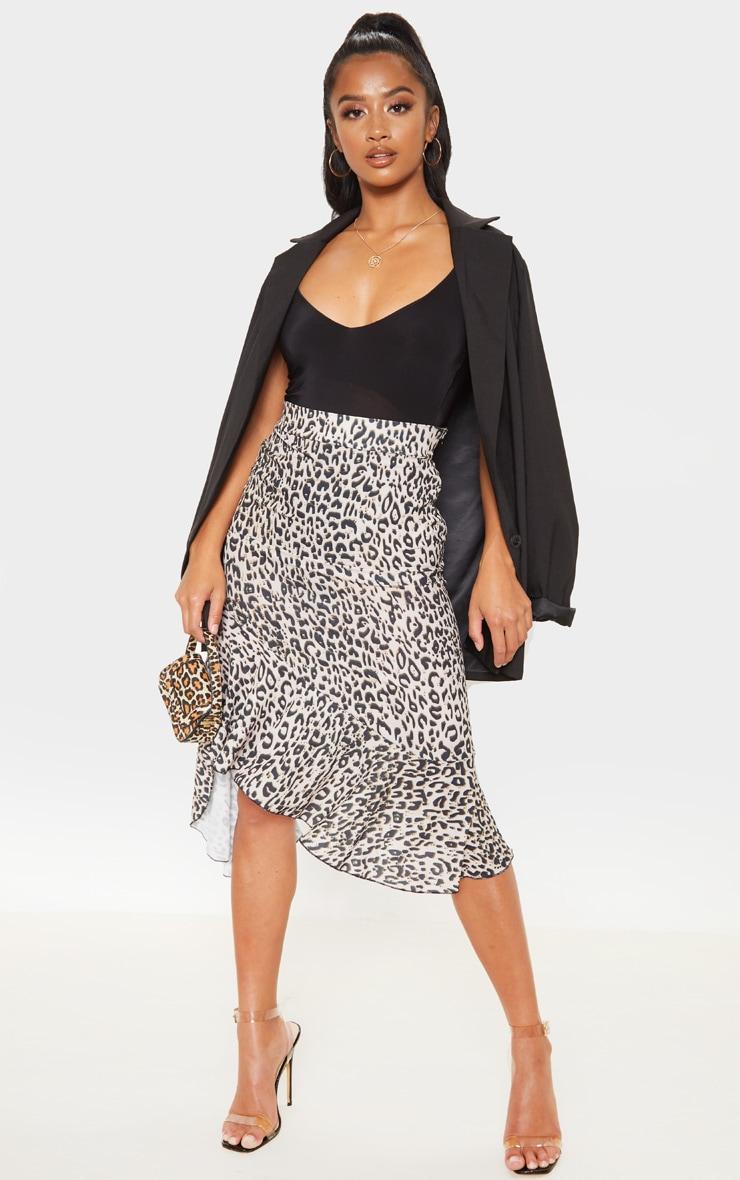 Petite Tan Leopard Ruffle Detail Midi Skirt  1
