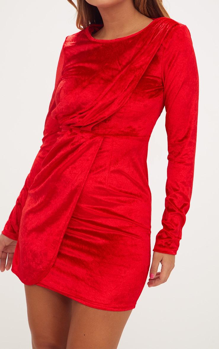 Red Long Sleeved Velvet Wrap Detail Bodycon Dress 5
