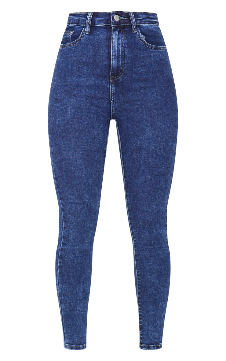 PRETTYLITTLETHING Washed Indigo 5 Pocket Skinny Jeans 5