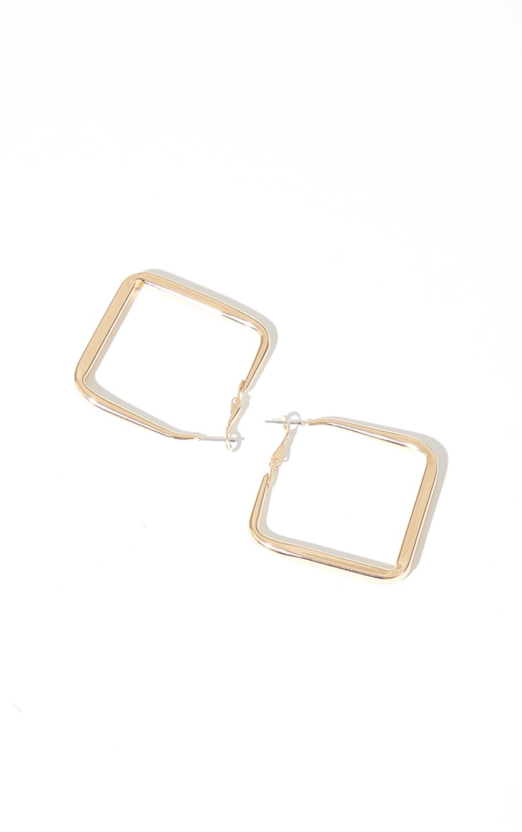 Gold Rounded Edge Square Hoop Earrings 3