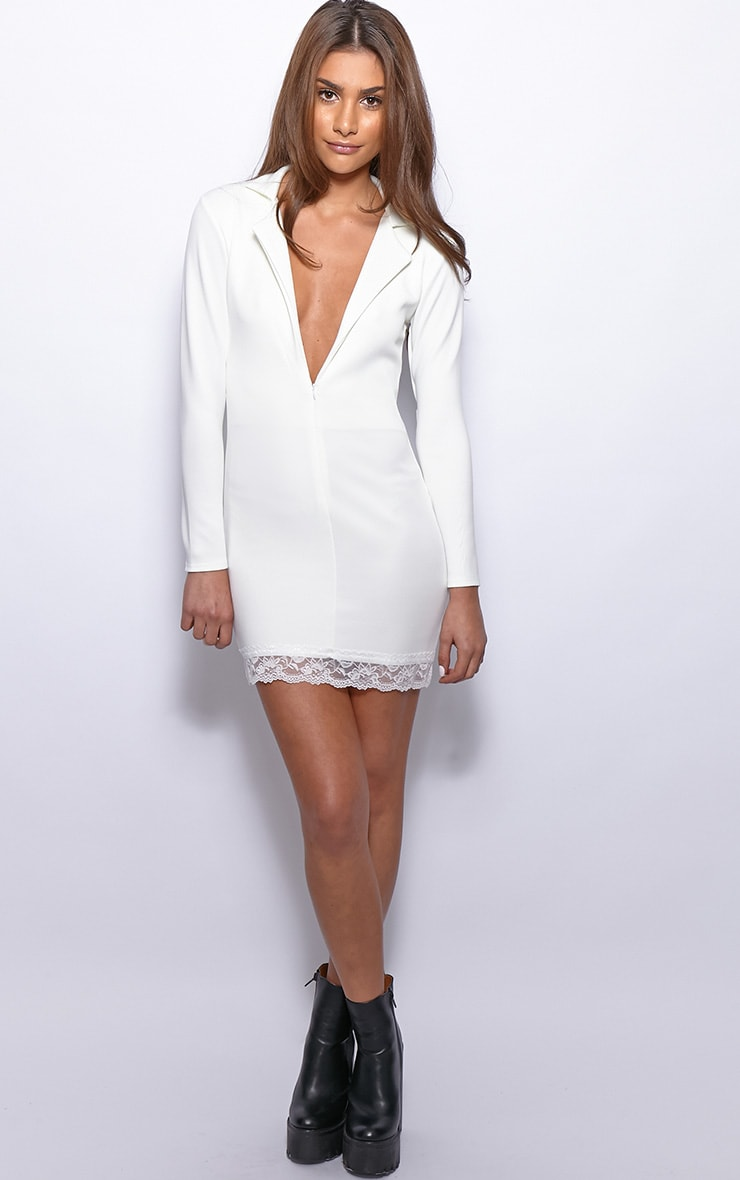 Renee White Tuxedo Lace Trim Dress 4