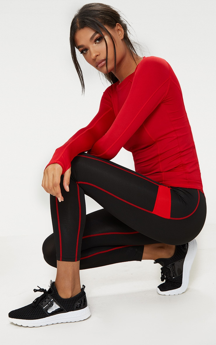 Red Long Sleeve Gym Top 4