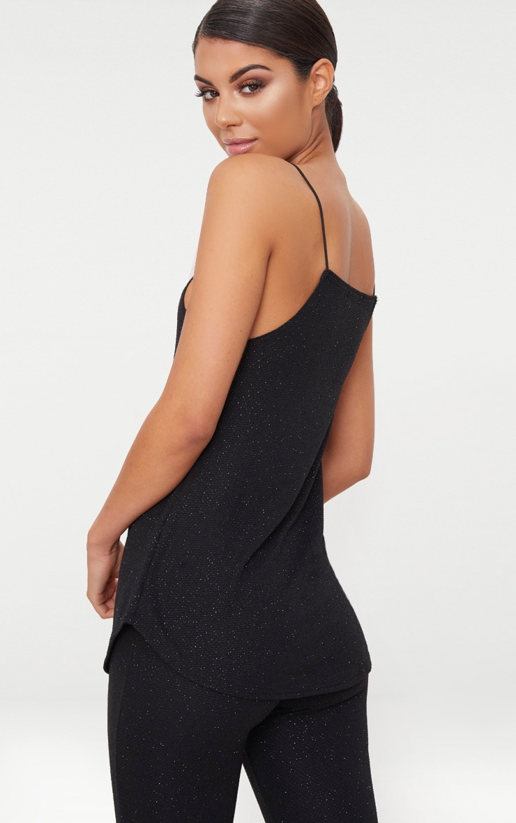 Black Sparkle Longline Cami Top 2