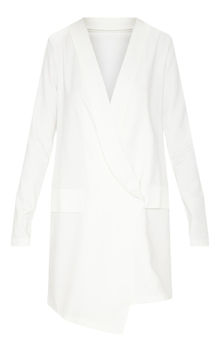White Asymmetric Hem Oversized Blazer Dress 3