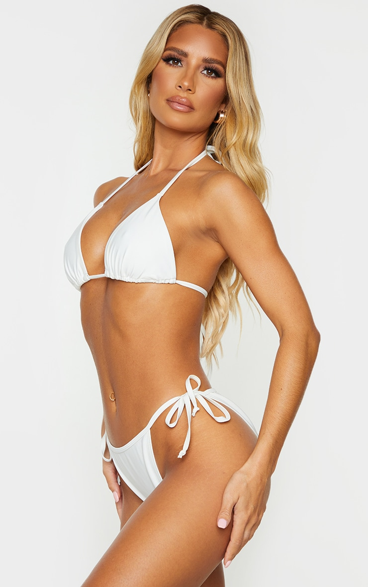 Recycled White Mix & Match Tie Side Bikini Bottom 2