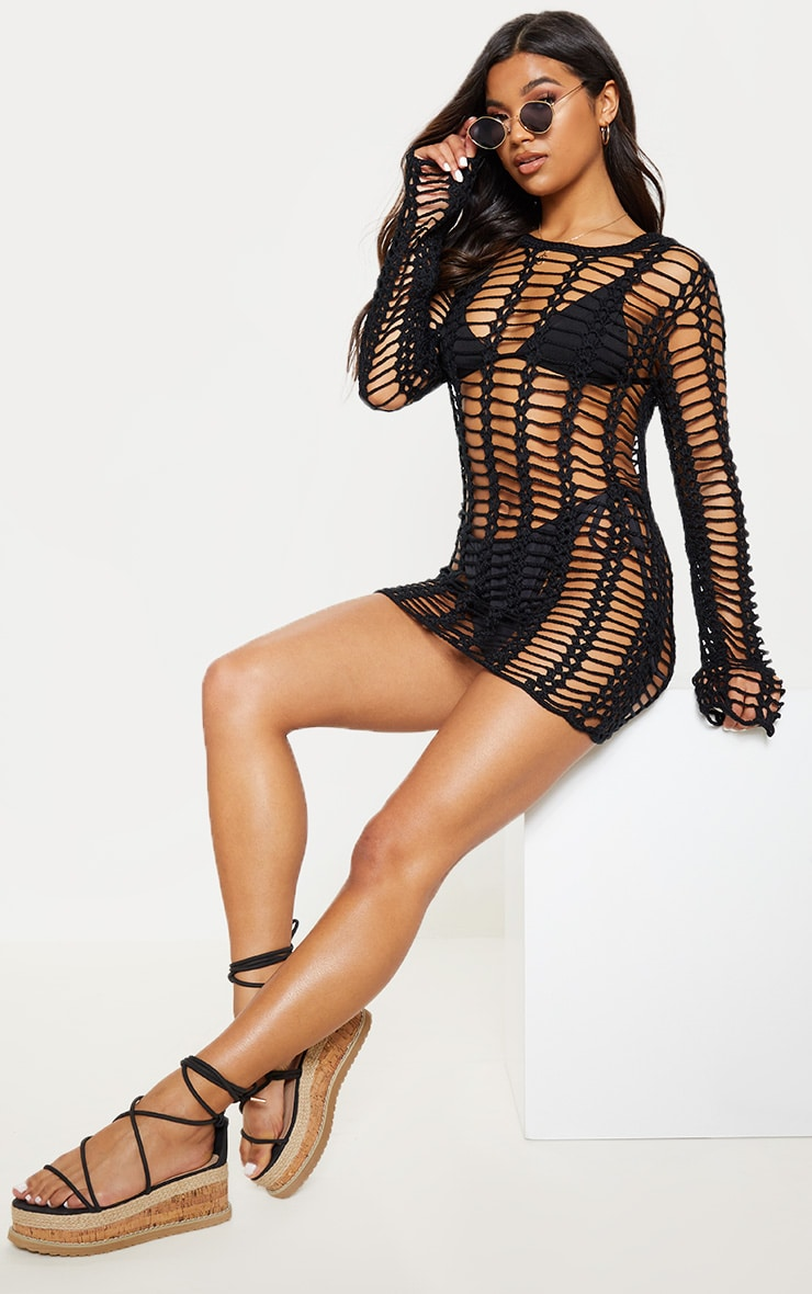 Black Crochet Ladder Detail Long Sleeve Dress 1