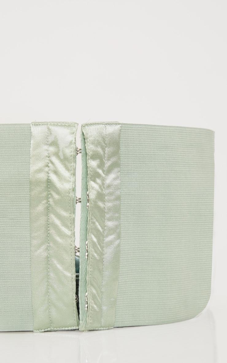 Sage Green Ruched Front Corset Belt 3
