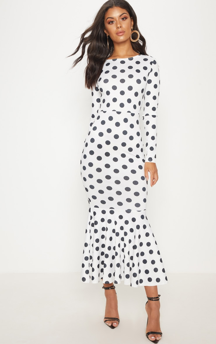 White Polka Dot Fishtail Midaxi Dress 4