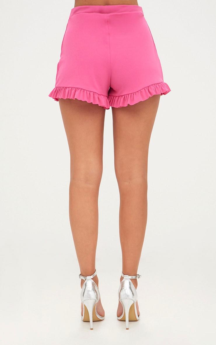 Fuchsia Frill Hem Shorts 4