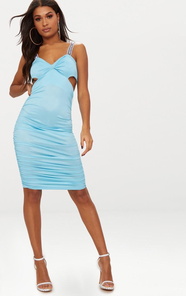 PRETTYLITTLETHING Sky Blue Twist Ruched Midi Dress 1