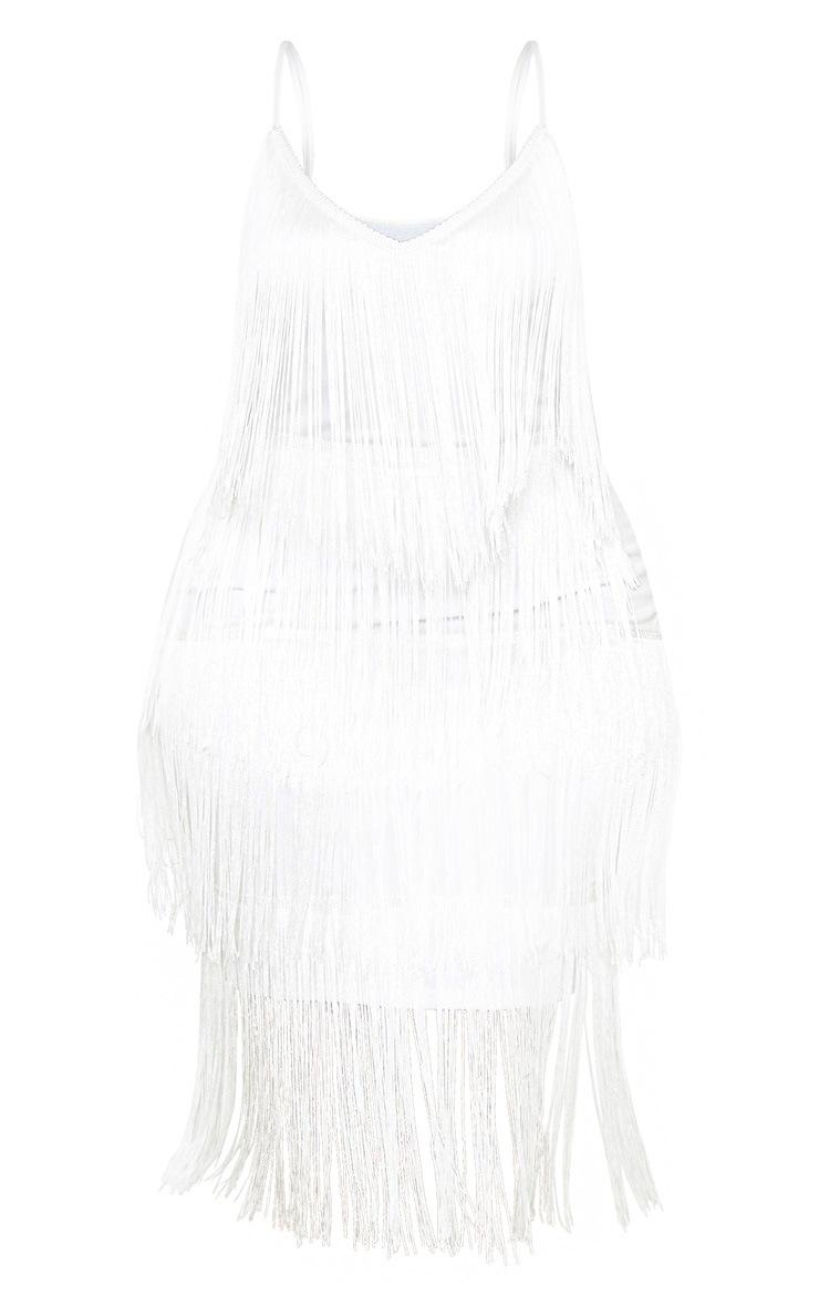 Plus White Strappy Tassel Midi Dress 3