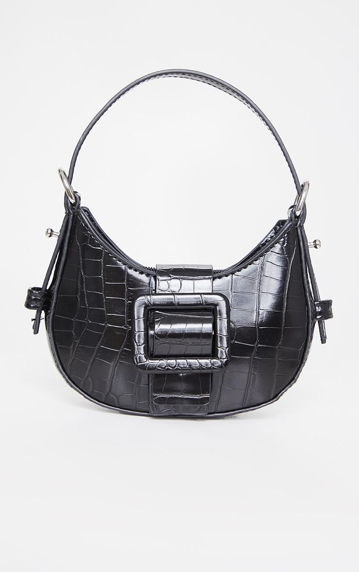 Black Croc Mini Buckle Grab Bag 1