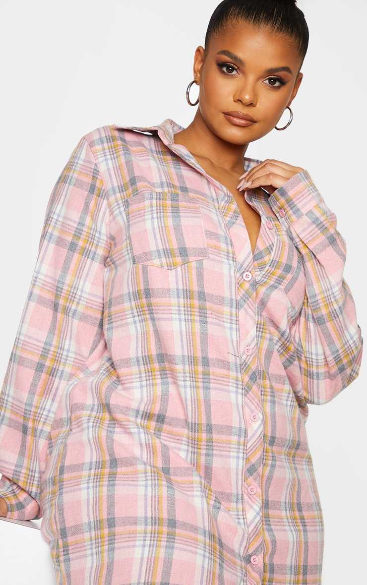 Plus Baby Pink Checked Oversized Shirt Dress 4