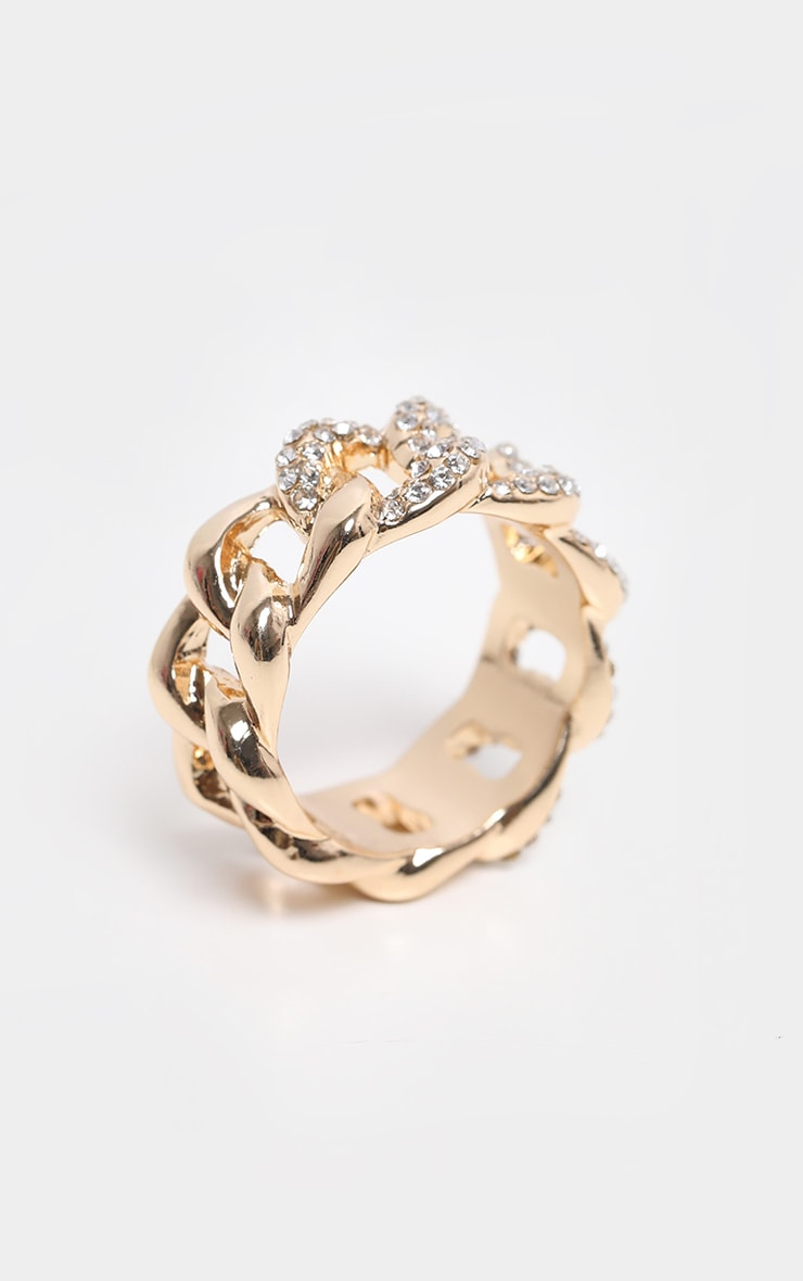 Gold Chunky Pave Chain Ring 2