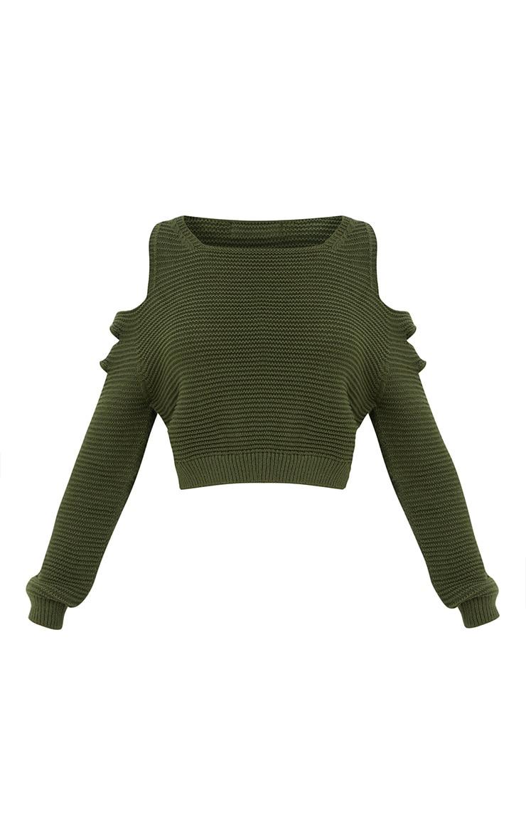 Khaki Cut Out Shoulder Knitted Jumper 3