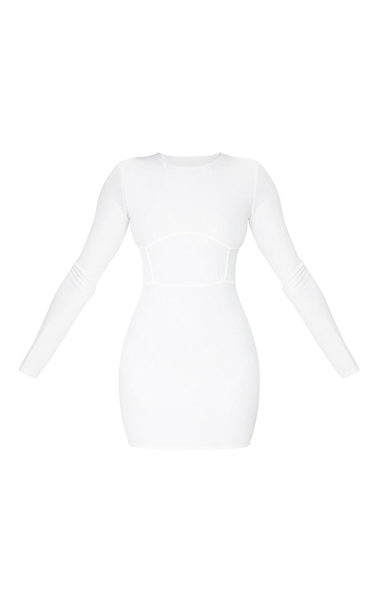 White Rib Binding Detail Long Sleeve Bodycon Dress 5