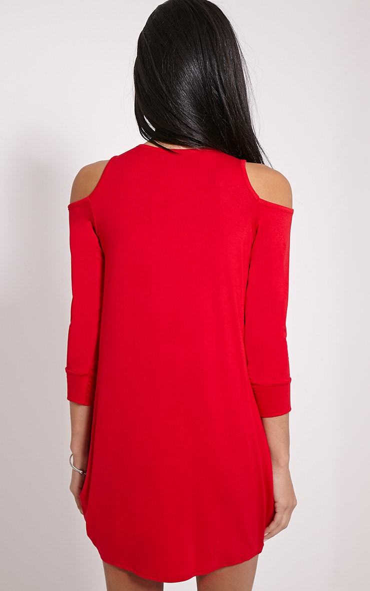 Bronywn Red Cut Out Shoulder Dress 2