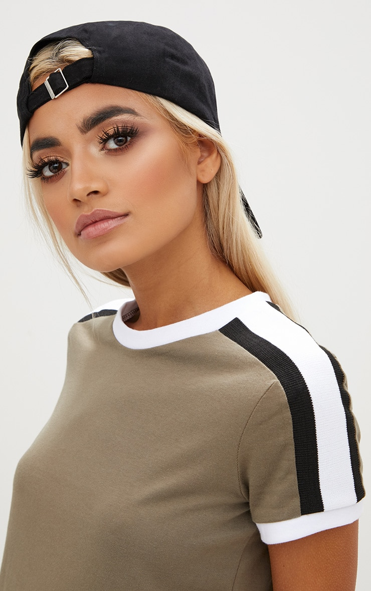 Khaki Triple Stripe Shoulder T Shirt  4