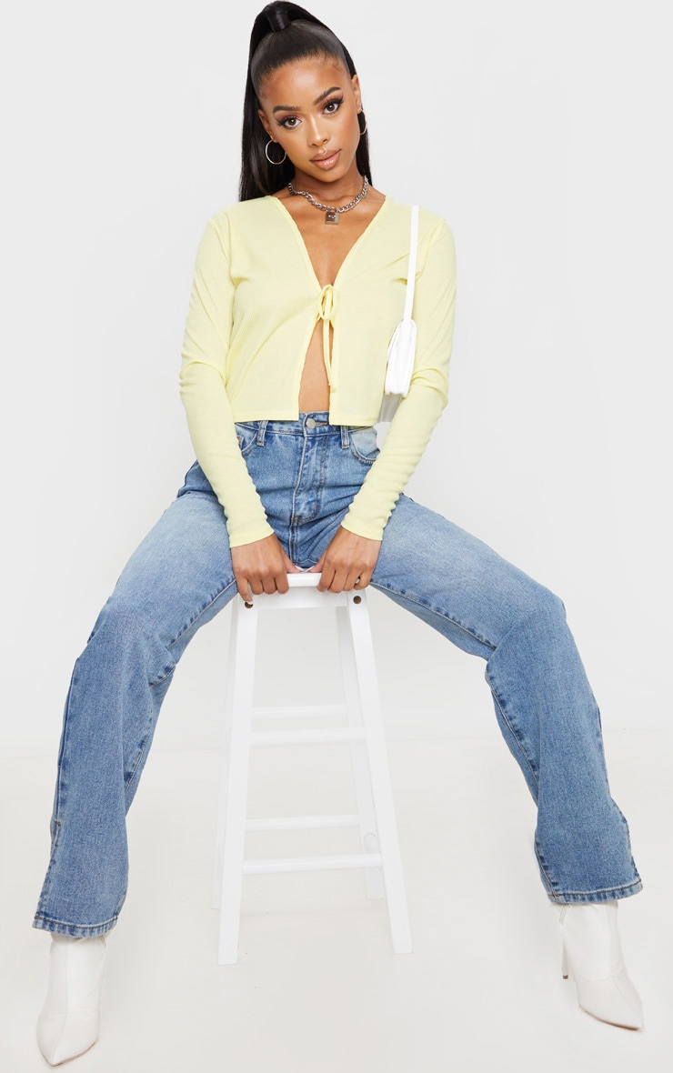 Lemon Rib Tie Front Long Sleeve Crop Top 3