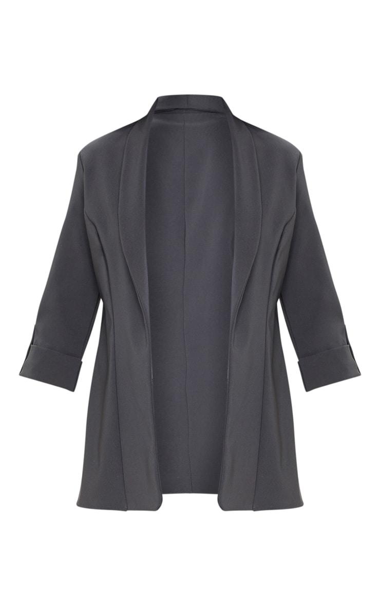 Dark Grey Woven Turn Up Sleeve Blazer 3
