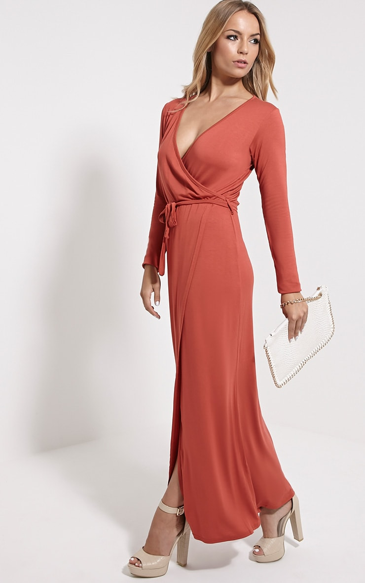 Pennie Rust Wrap Front Maxi Dress 4