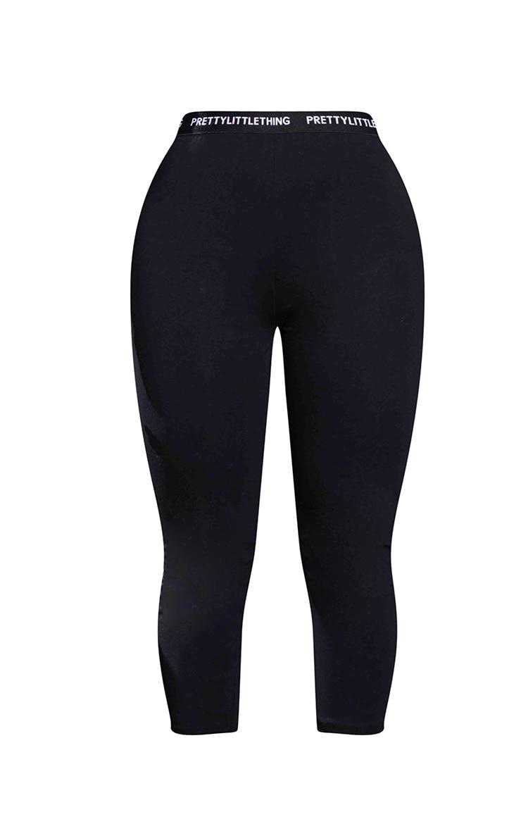 PRETTYLITTLETHING Petite Black Cropped Leggings 5