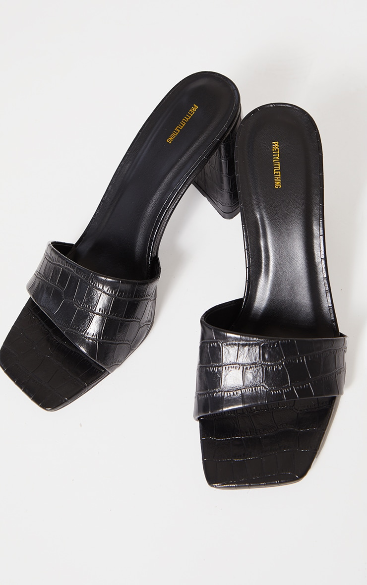 Black Square Toe High Block Heel Mules 3