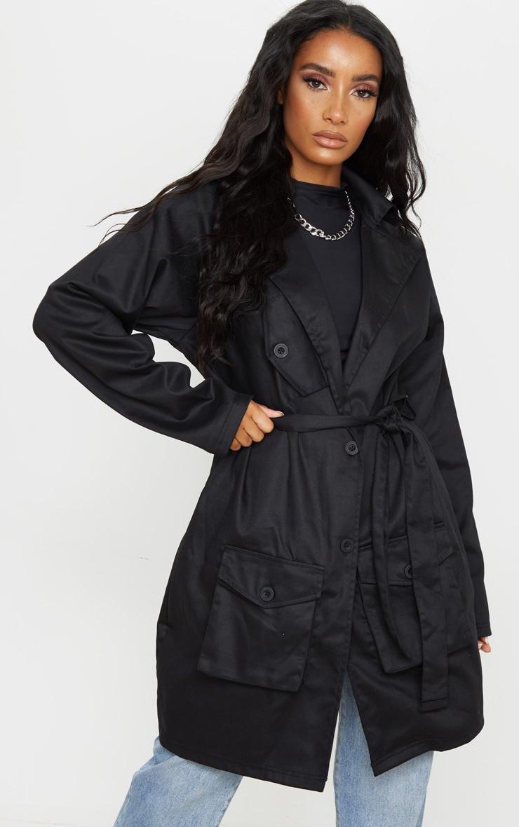 Black Pocket Detail Trench Coat 3