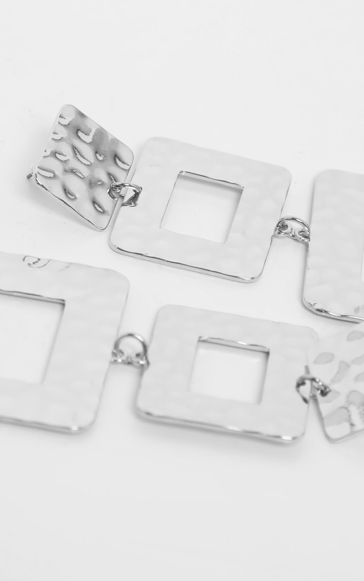 Boucles d'oreilles argentées à triple pendants carrés texturés 3