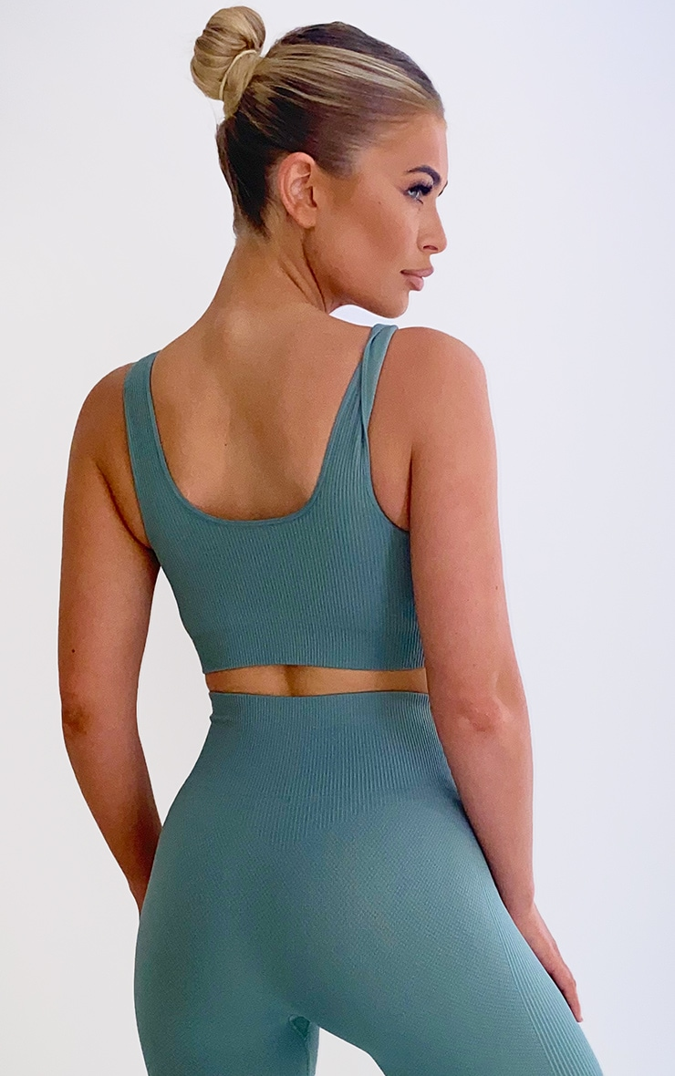 Sage Green Textured Seamless V Neck Cropped Sports Top 2