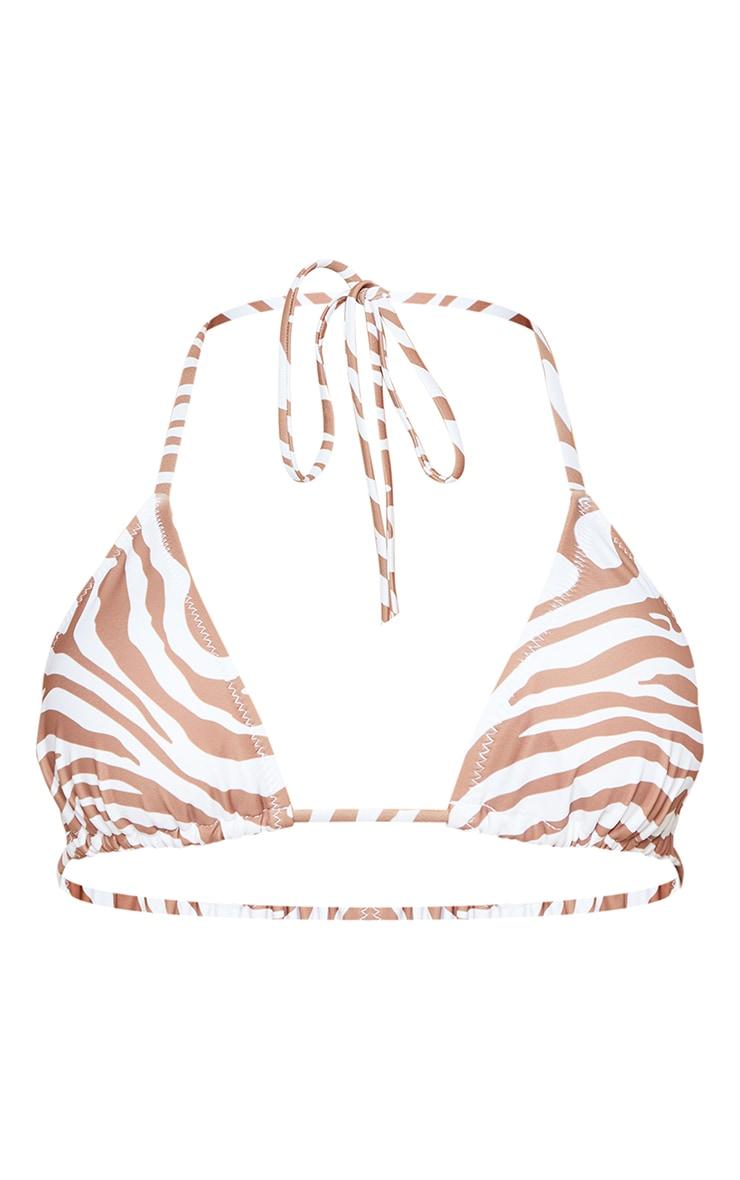 Brown Zebra Print Adjustable String Tie Padded Triangle Bikini Top 5