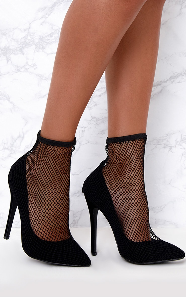 Black Fishnet Sock Heels  1