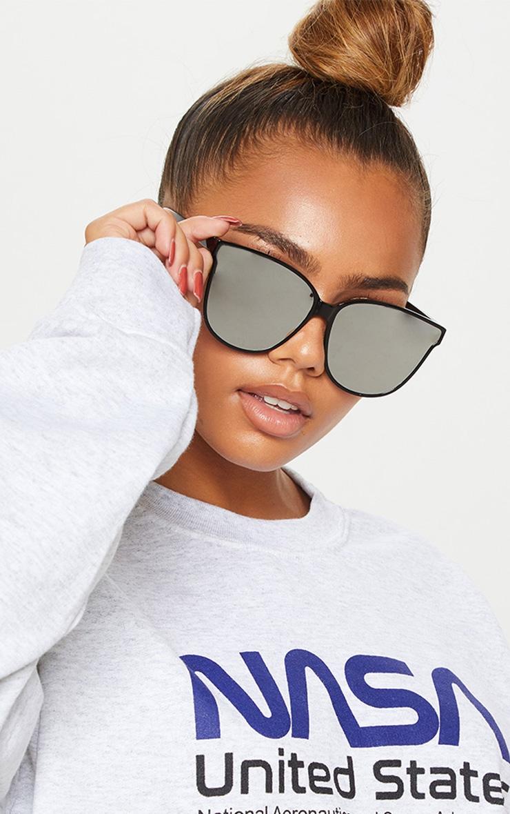 Black Oversized Cat Eyes Sunglasses
