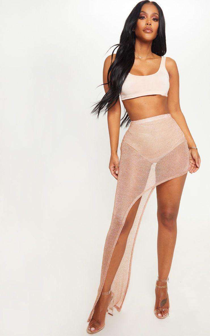 Shape Rose Gold Sheer Knitted Asymmetric Maxi Skirt  1