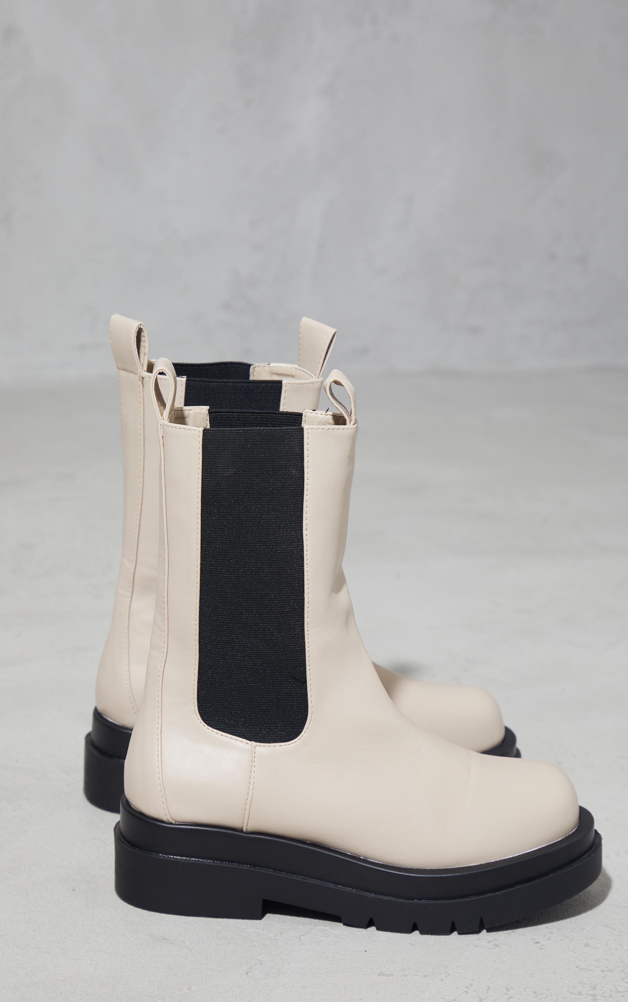 Cream Calf High Chunky Chelsea Boot 3