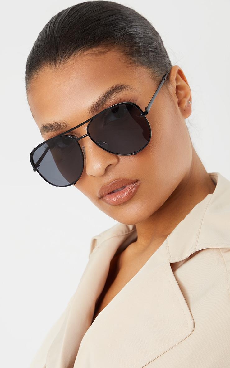 Black On Black Oversized Aviator Sunglasses 1